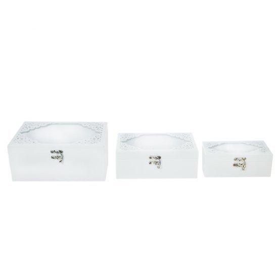 Set 3 Cutii Albe din Lemn cu Geam si Model Dantelat
