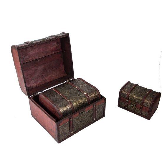 Set 3 cufere din lemn pentru depozitare bijuterii