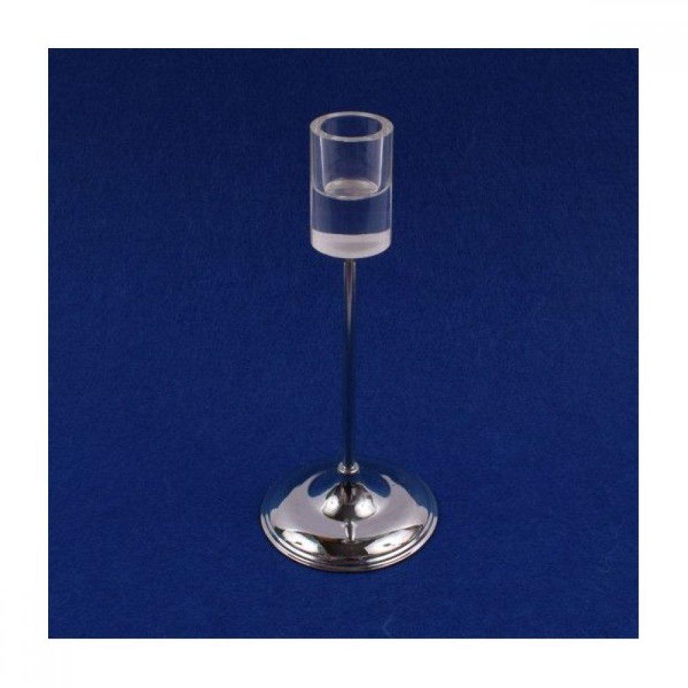 Suport Lumanare Cu Picior Metal Cu Sticla Cilindrica 19cm