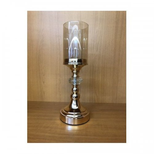Suport Lumanare Metal Cu Sticla Cilindric
