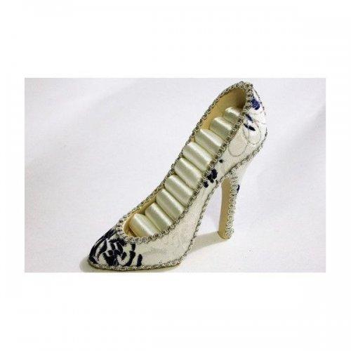 Suport Pentru Bijuterii In Forma De Pantof Alb Cu Imprimeu Floral