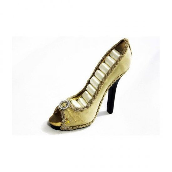 Suport Pentru Bijuterii In Forma De Pantof Negru Cu Funda Tulle