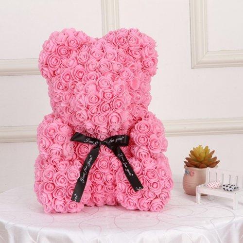 Ursulet Trandafiri Roz 40 Cm