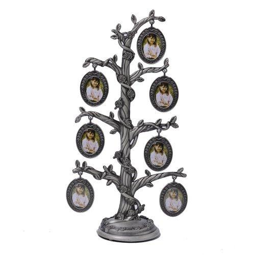 Copacel decorativ cu 7 rame foto ovale si trandafiri pe trunchi