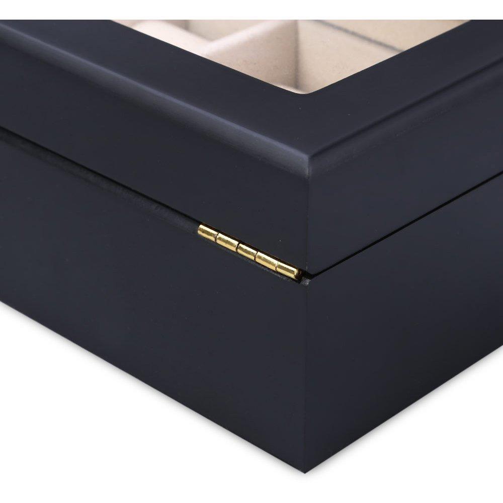 Cutie ceasuri negru mat din lemn cu 6 spatii