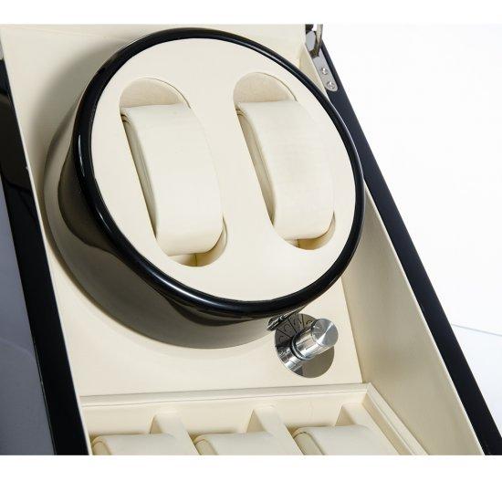 Cutie neagra pentru 5 ceasuri cu interior din piele alba