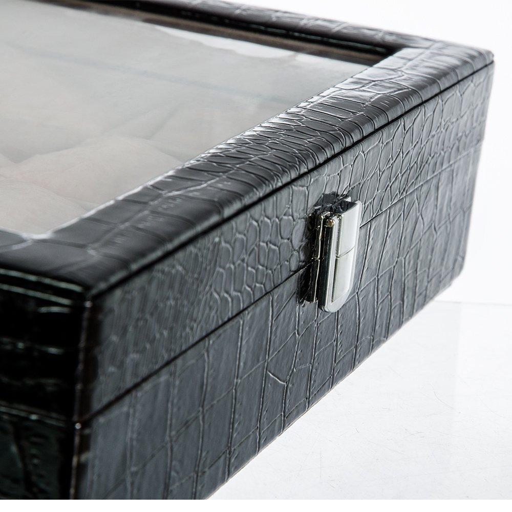 Cutie neagra stil croco pentru 8 ceasuri LATE