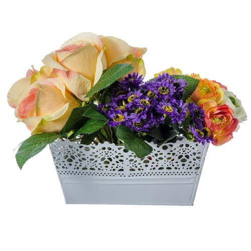 Ghiveci Flori Dreptunghiular Alb Cu Model Dantelat