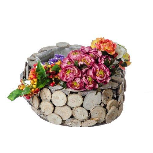 Ghiveci flori rotund cu model rustic din lemn