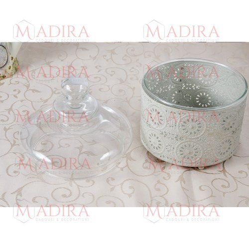 Bomboniera sticla cu mantie dantelata de metal