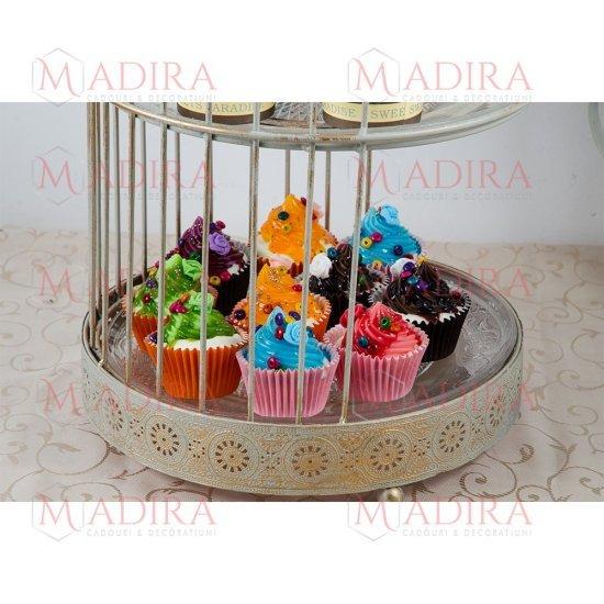 Colivie Metalica Suport Candy Bar Model Auriu Antichizat