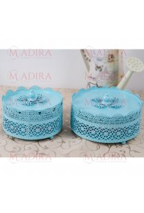 Set 2 Suporturi Bleu Candy Bar cu Model Dantelat