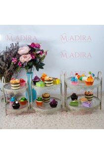 Set 3 Suporturi Elegante Candy Bar cu 2 Etaje Dantelate