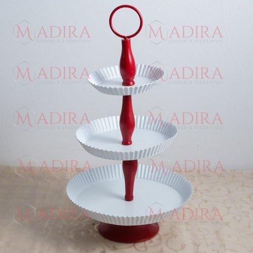 Suport Candy Bar Metalic, Model Alb cu Rosu