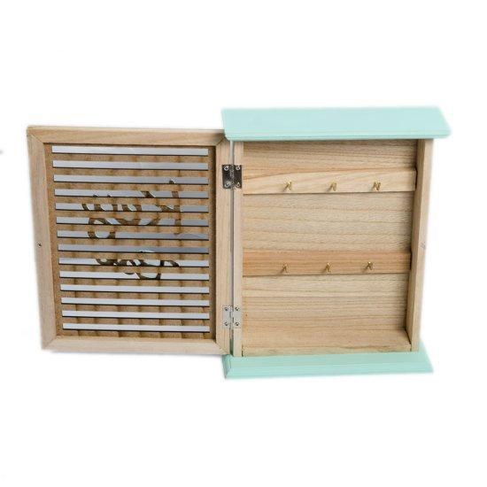 Cutie lemn pentru chei cu detalii turcoaz si 6 agatatoare