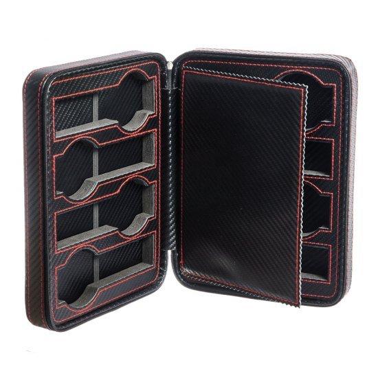 Cutie voiaj carbon negru cu rosu si 8 spatii pentru ceasuri