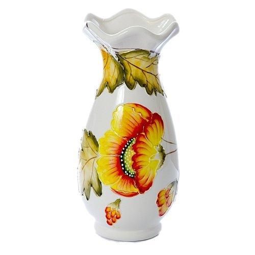 Vaza ceramica alba cu model floare galbena cu rosu si frunze