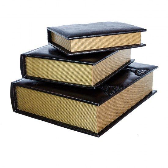 Set 3 carti din piele ecologica maro, rol cutii depozitare