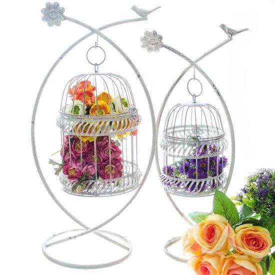 Set doua colivii crem antichizat cu floare si pasare
