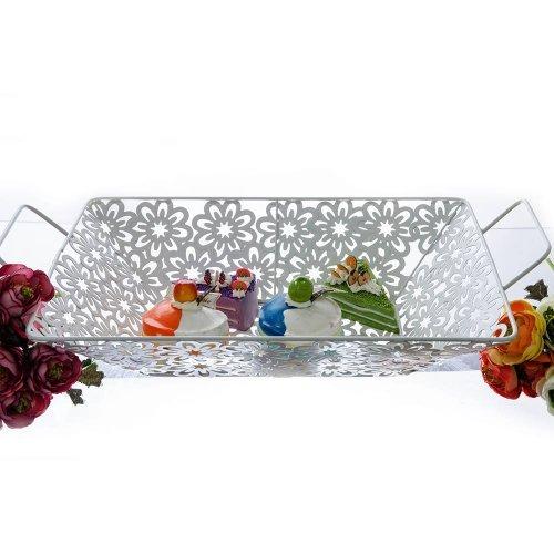 Tava cu manere din metal cu model floral 34 cm