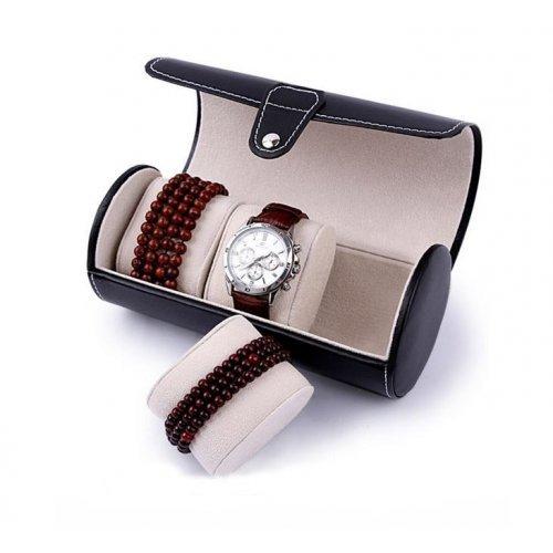 Cutie ceasuri din piele ecologica neagra