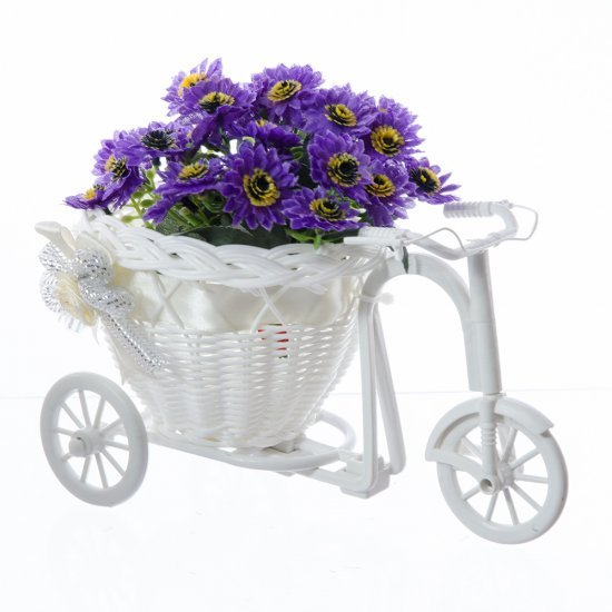 Bicicleta alba cu fundita, suport pentru flori