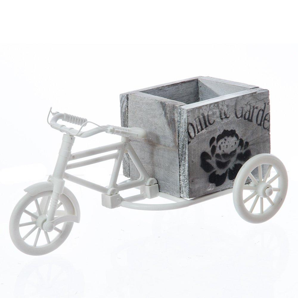 Bicicleta alba cu suport din lemn pentru flori