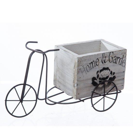 Bicicleta din metal cu suport ghiveci din lemn
