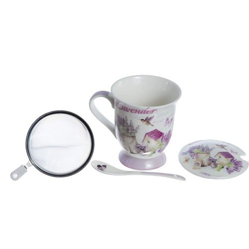 Cana Ceai Cu Lingura Si Sita, Model Lavanda Si Pasarea Colibri