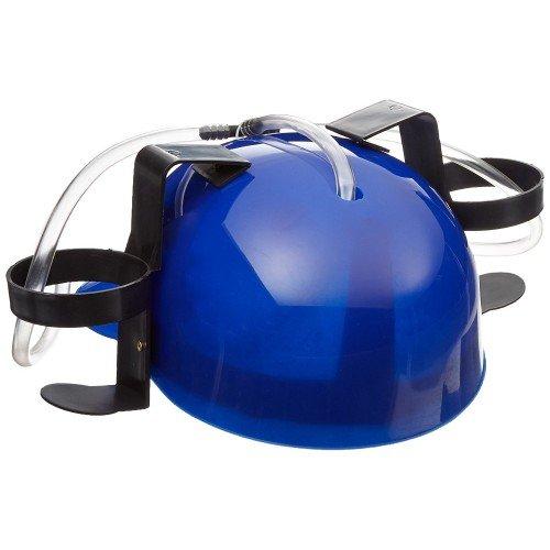 Casca albastra de petrecere cu furtunuri pentru bautura