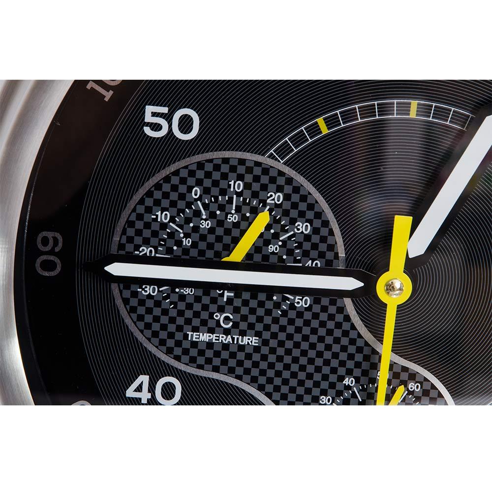 Ceas modern cu termometru, hidrometru si detalii galbene