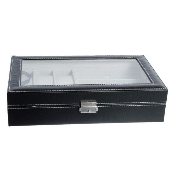 Cutie pentru ceasuri si ochelari, model negru mat