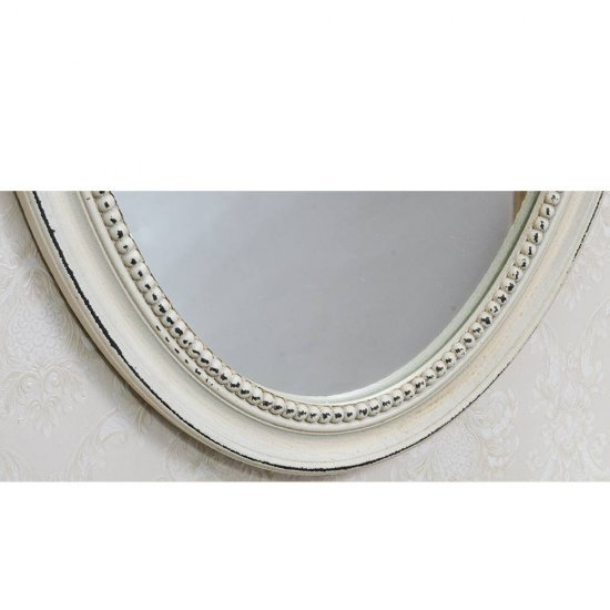 Oglinda vintage crem ovala cu rama decorata cu perlute
