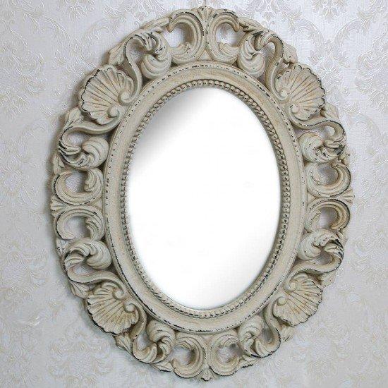 Oglinda vintage crem pentru mireasa cu modele scoica