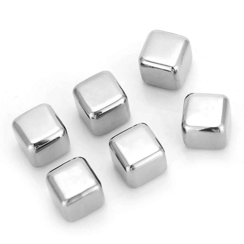 Set 6 cuburi inox cu saculet de catifea
