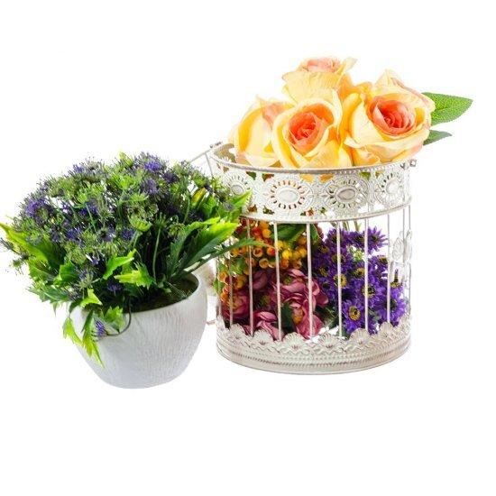 Set Colivii Rotunde Vintage cu Flori si Pasari