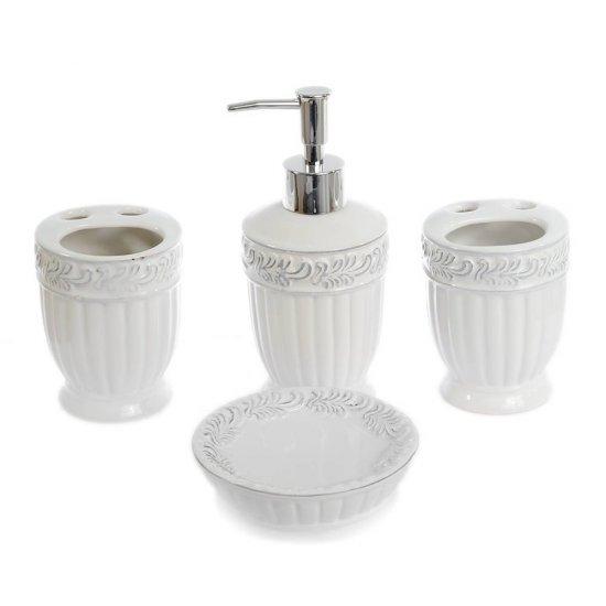 Set baie din ceramica cu 4 piese, model sculptat alb