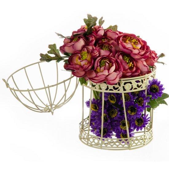 Set suporturi pentru flori cu doua colivii mici crem