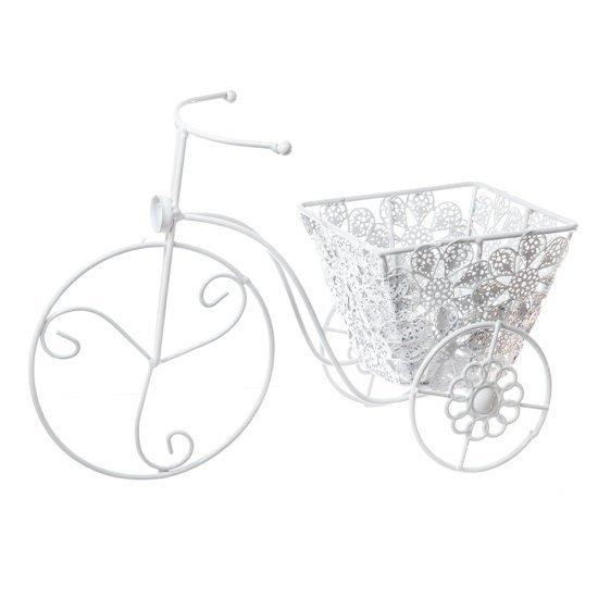 Suport Flori Tricicleta Alba Decorativa
