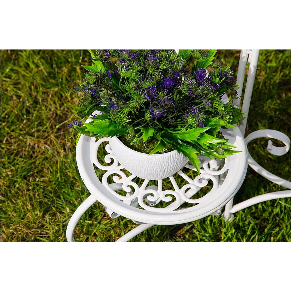 Suport alb metalic 3 ghivece cu flori