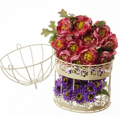 Suport flori cu doua colivii mici crem