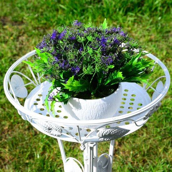Suport ghiveci alb din metal cu frunze si flori