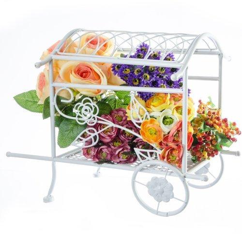Suport ghiveci flori sub forma de car alb