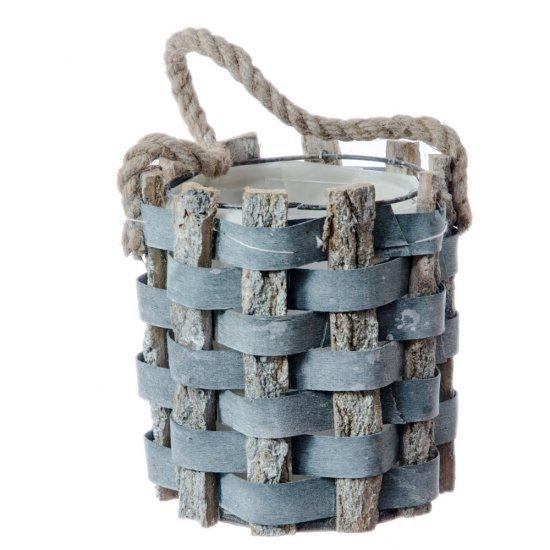 Suport ghiveci rustic din lemn cu sfoara agatatoare