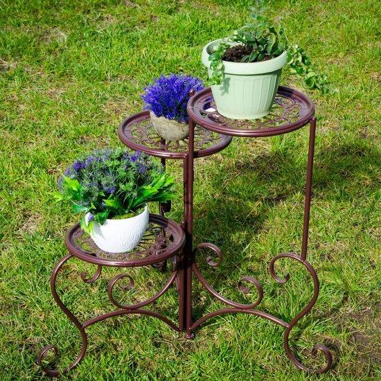 Suport maro din metal pentru 3 ghivece cu flori