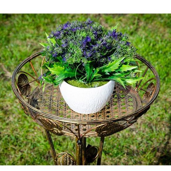 Suport maro pentru ghiveci din metal cu flori si frunze