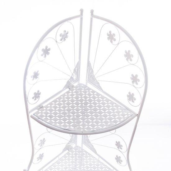 Suport plat alb din metal cu 3 niveluri pentru ghivece flori