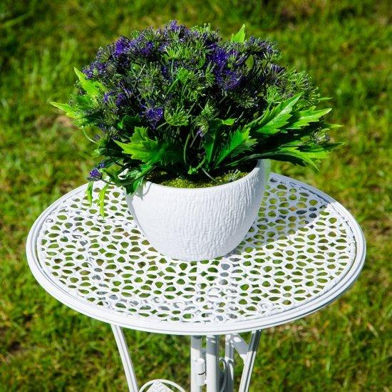 Suport rotund alb pentru ghiveci flori