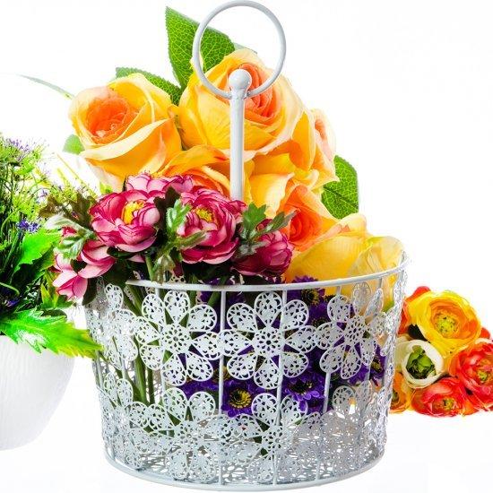 Suport Rotund Alb Cu Agatatoare Pentru Aranjamente Florale