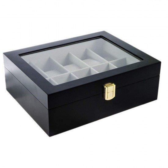 Cutie eleganta pentru 10 ceasuri din lemn lacuit